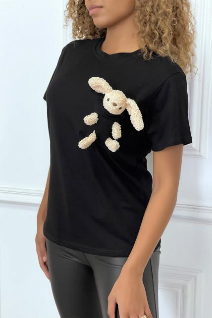 T-shirt noir à poche doudou col rond et manches courtes