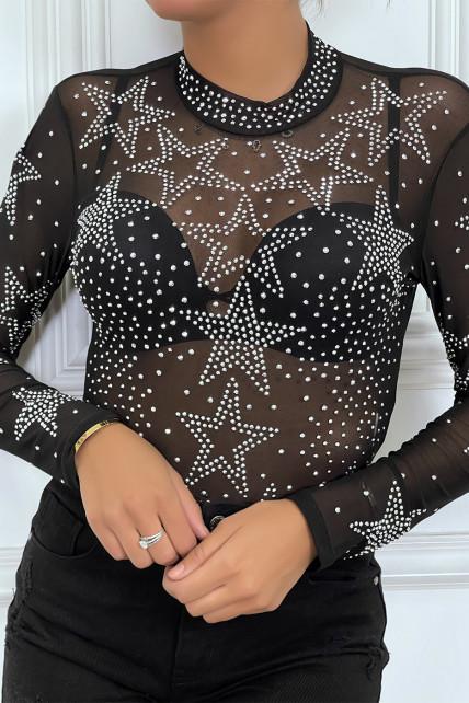 Body noir transparent à manches longues avec des étoiles en strass