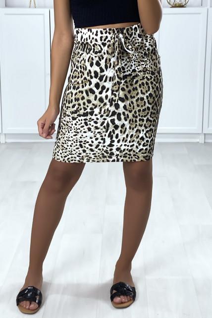 Jupe en coton gratté motif léopard noir et camel avec poches