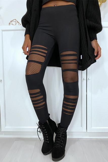 Legging noir en coton déchiré à l'avant avec résilles aux genoux
