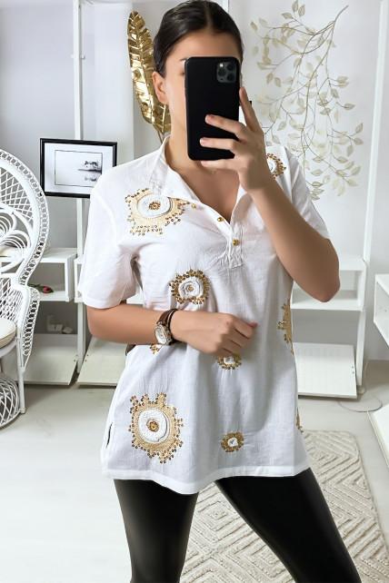 Tunique blanche col chemise avec strass et broderie devant