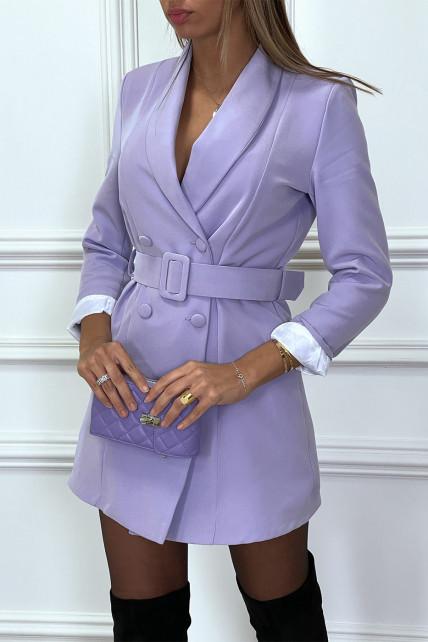 Robe blazer violet à col revers plongeant et gros boutons