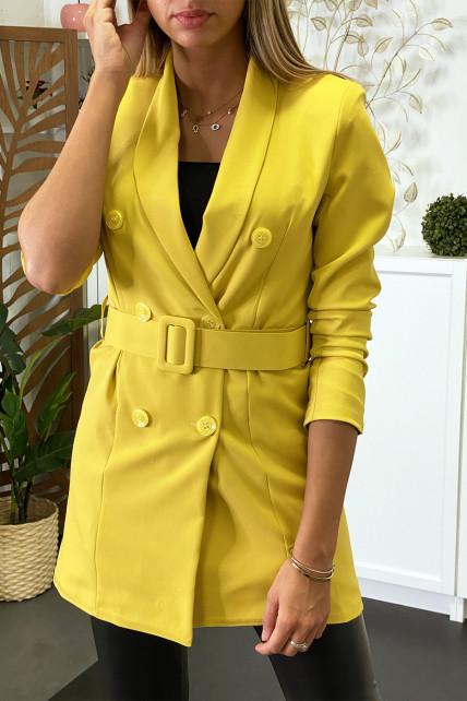 Blazer jaune boutonné avec ceinture