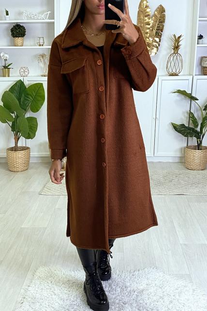Veste très chaude en cognac avec poches au buste et boutons