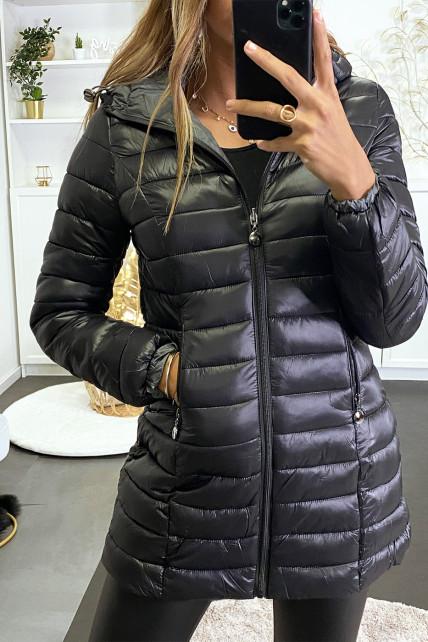 Doudoune noir à capuche avec poches