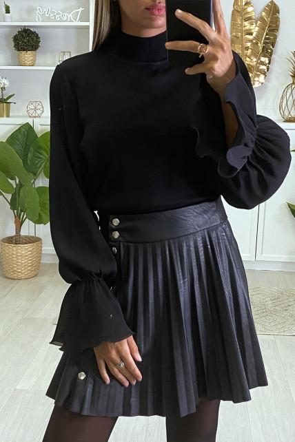 Magnifique pull noir manches bouffante en voile plissé