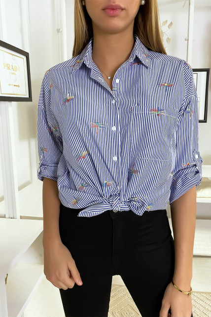 Chemise rayée marine avec détails libellules cousues