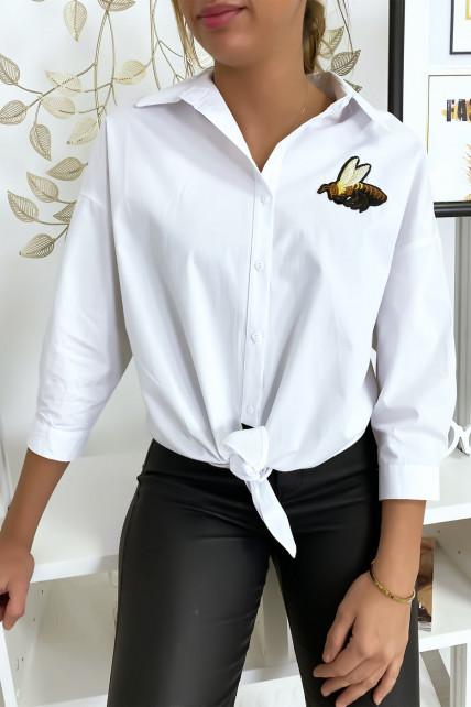 Chemise blanche abeille à nouer