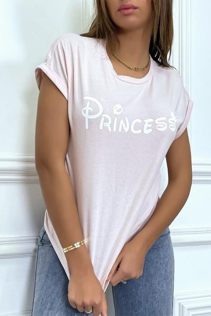 """T-shirt rose avec écriture """"pincesse"""" et manches retroussées"""