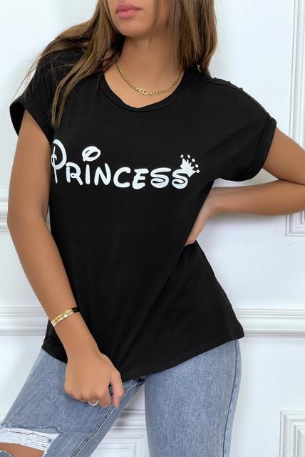 """T-shirt noir avec écriture """"pincesse"""" et manches retroussées"""