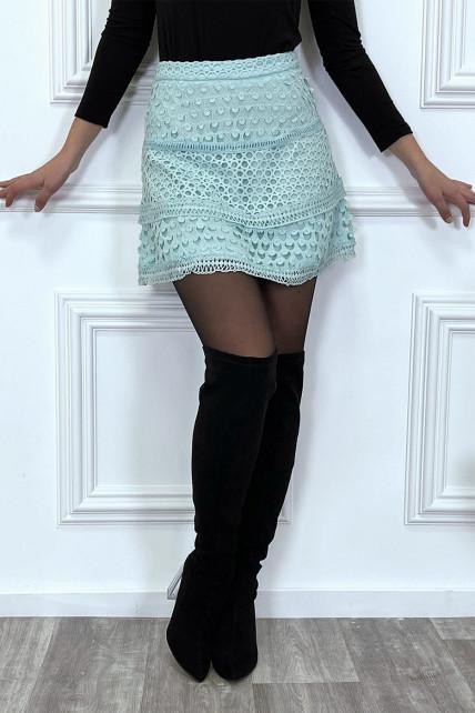 Jupe courte turquoise à doublure à crochet