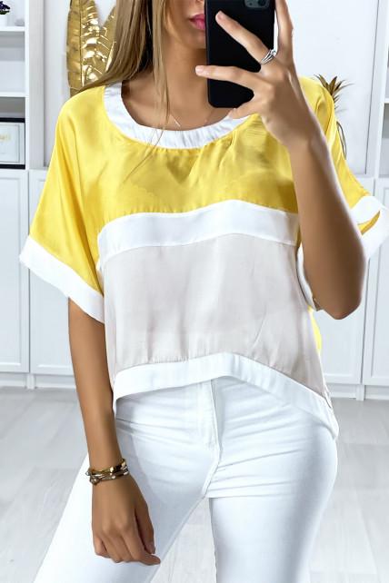 Blouse ample avec plusieurs morceaux multi-color beige et jaune