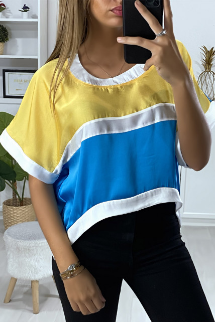 Blouse ample avec plusieurs morceaux multi-color turquoise et jaune