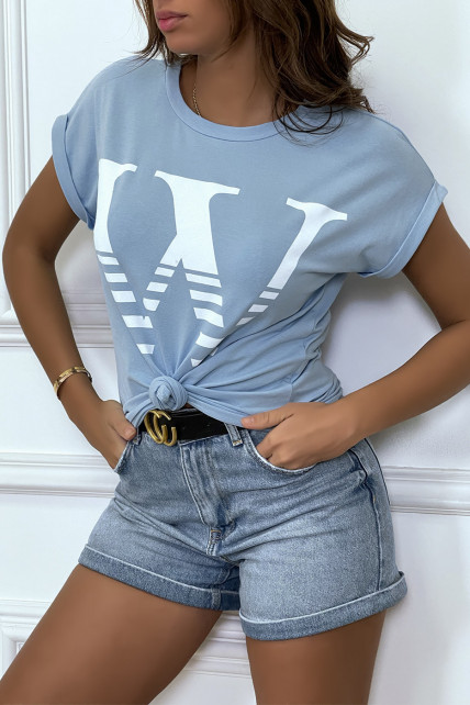 T-shirt loose turquoise hyper tendance à manches retroussées et motif W