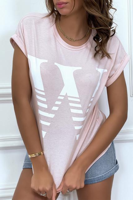 T-shirt loose rose hyper tendance à manches retroussées et motif W