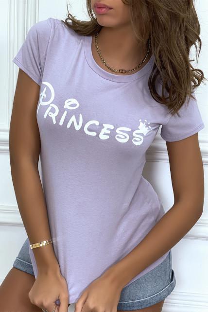"""T-shirt lila à col rond, manches courtes, écriture """"princess"""""""