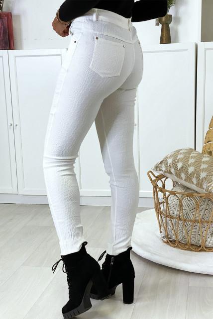 Pantalon slim blanc motif python avec 5 poches