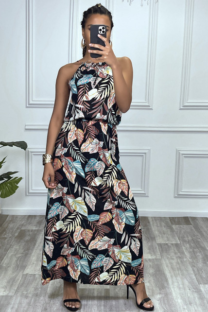 Robe longue noir motif feuilles avec col montant et elastique à la taille