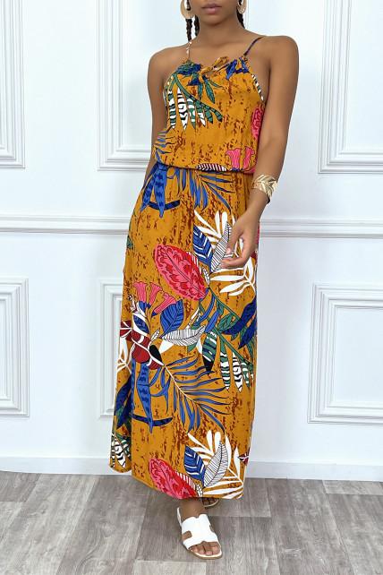 Robe longue moutarde motif feuilles avec col montant et elastique à la taille