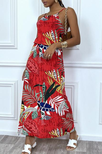 Robe longue rouge motif feuilles avec col montant et elastique à la taille
