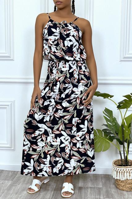 Robe longue marine motif feuilles avec col montant et elastique à la taille