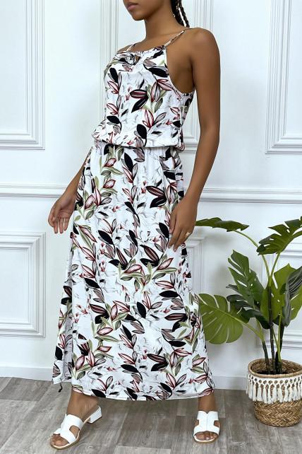 Robe longue blanche motif feuilles avec col montant et elastique à la taille