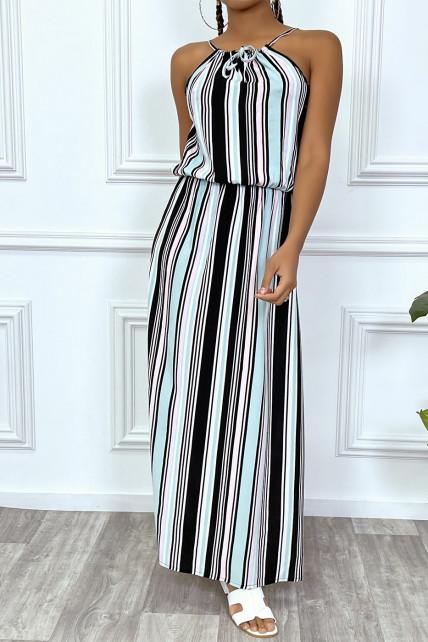 Combinaison pantalon noir rayure turquoise à col montant et elastique à la taille