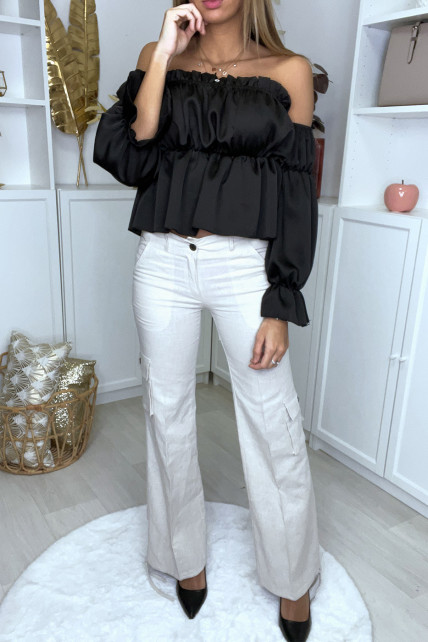 Pantalon cargo beige façon lin avec poches