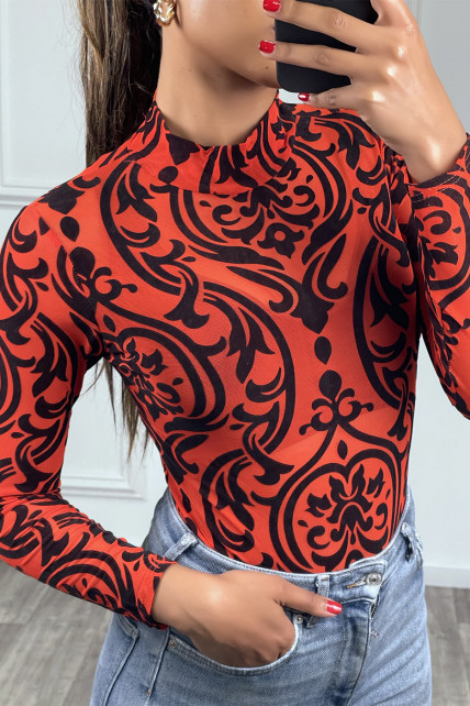 Body rouge manches longues à motif noir