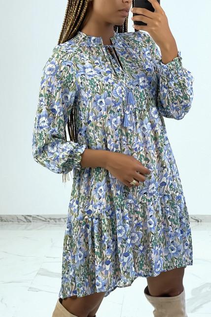 Robe tunique fluide à fleurs bleu col mao
