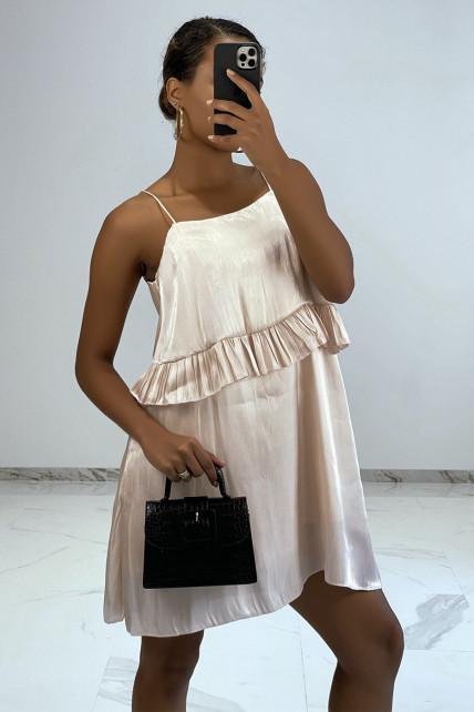 Petite robe fluide satinée robe poudrée