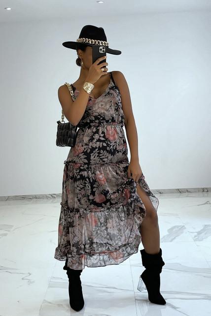 Longue robe noir fluide à imprimé floral