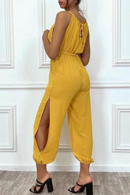 Combianaison pantalon d'été moutarde ceinturé avec fentes