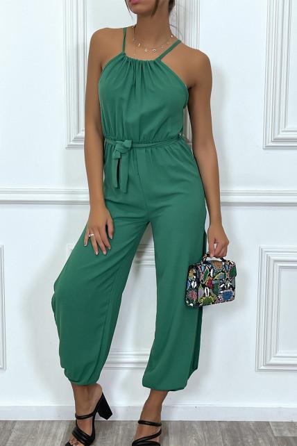 Combianaison pantalon d'été verte ceinturé avec fentes