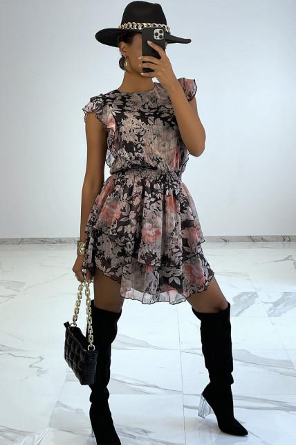 Petite robe fluide noir à fleurs style bohème rock