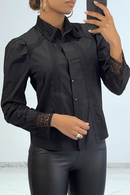 Chemise chic noire à détails broderie ajourée