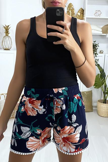 Short en coton motif fleuris marine rouge avec poches