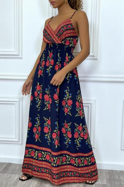 Robe longue à bretelles fines, bleu marine à fleurs roses