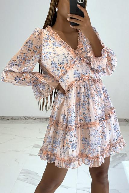 Robe courte rose à imprimé floral, manches longues et dos nu