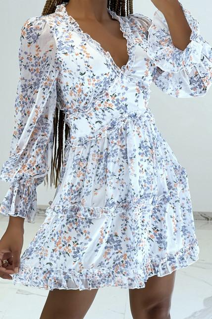 Robe courte blanche à imprimé floral, manches longues et dos nu