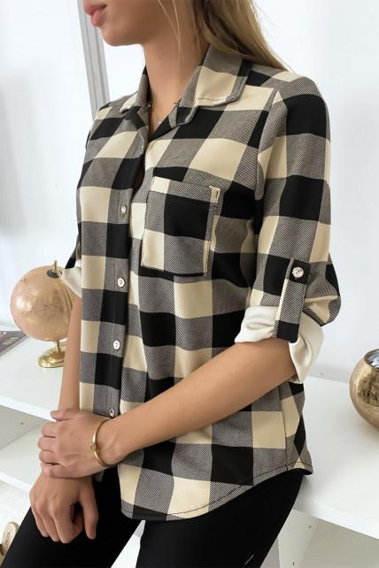 Chemise à carreau noir et taupe manche retroussé