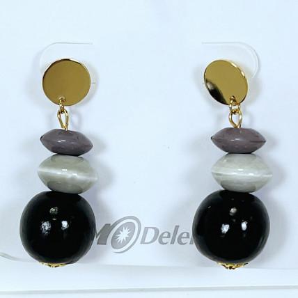 Boucles d'oreiles en perles de bois noir