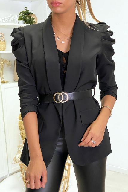 Veste blazer noir épaules bouffante avec ceinture