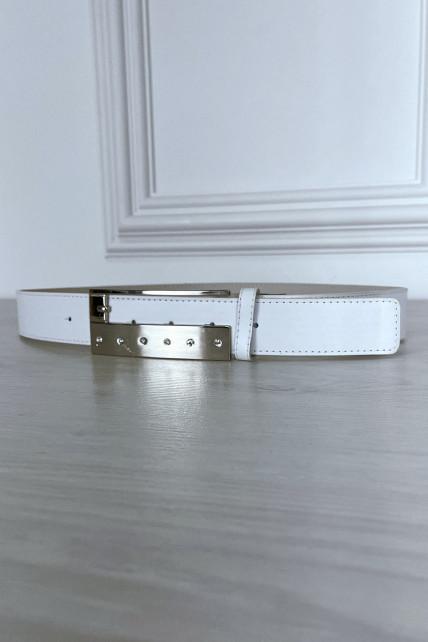 Ceinture blanche fine à boucle rectangulaire à strass