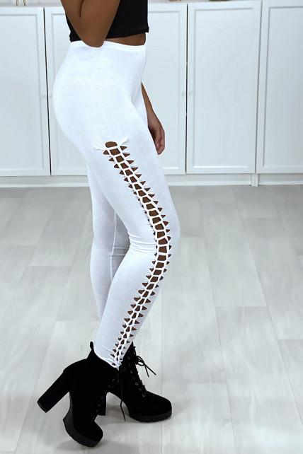 Legging blanc tressé sue les cotés