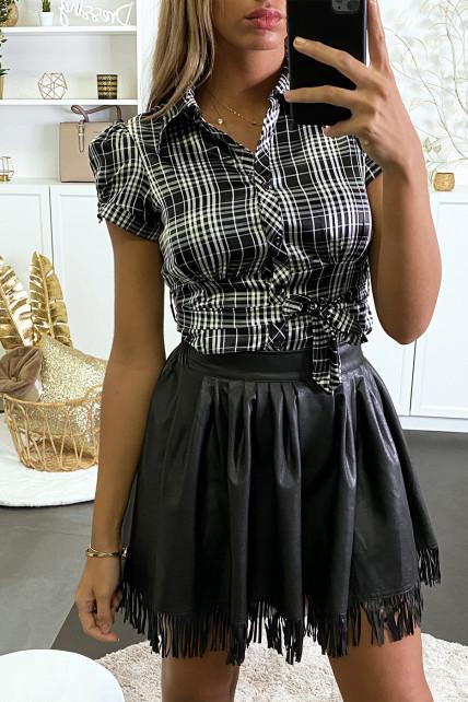 Chemise à carreau satiné noir et blanc avec ceinture