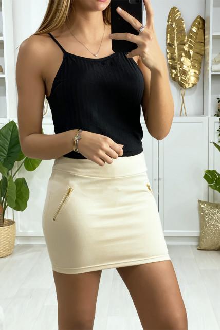 Mini jupe beige avec zip doré