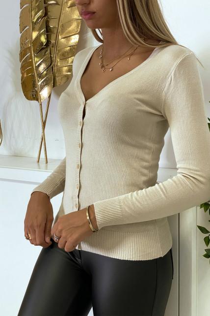 Gilet beige en maille tricot très extensible et très doux