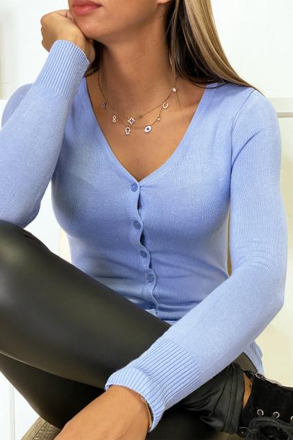 Gilet lila en maille tricot très extensible et très doux
