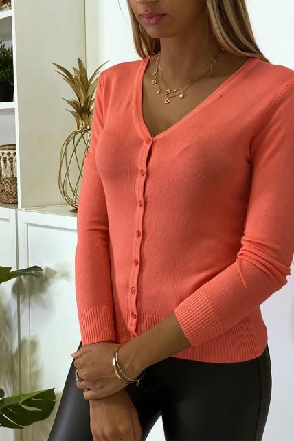 Gilet corail en maille tricot très extensible et très doux